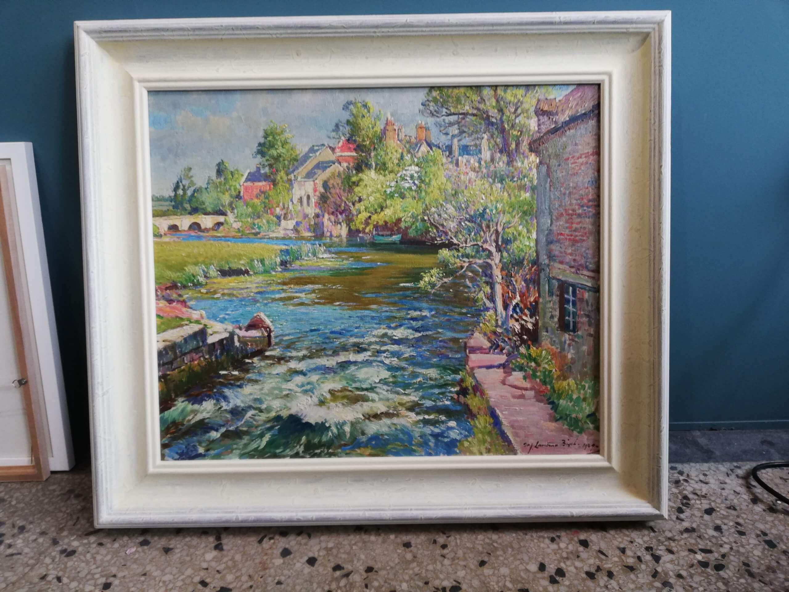 Hand painted and gessoed frame, Lamorna Birch