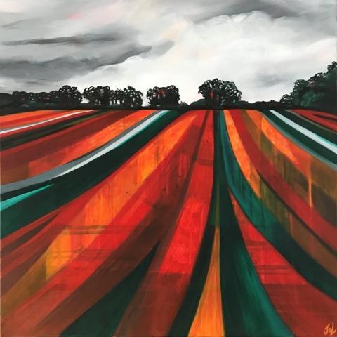 oxfordshire colours red field lines landscape