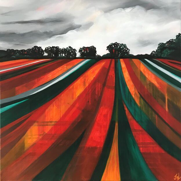 oxfordshire colours red field lines landscape
